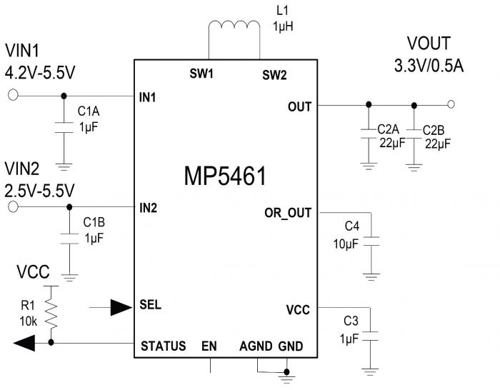 Dual Input, 4-Switch Integrated Buck-Boost Converter with Input ORing and Selection